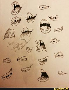 Scary cartoon mouths - Art - Welcome Haar Design Drawing Base, Manga Drawing, Drawing Sketches, Cool Drawings, Boca Anime, Cartoon Mouths, Lips Cartoon, Arte Grunge, Teeth Drawing