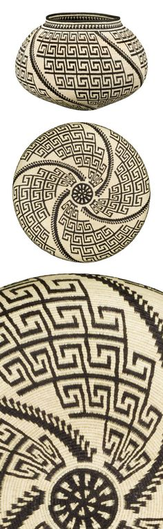 "Nota de Musica. Darién Rainforest, Panamá Wounaan. A fine nota-de-musica spiral interrupts a culturally inspired geometric motif in this silk-stitched basket. Includes artist's ""signature disk."" Material: Chunga palm (Astrocaryum standleyanum) & Naguala (Cardulovica palmata) fibers, vegetal dyes. Dimensions: 11"" H x 16.5"" W, silk-stitch technique. Construction time: Eighteen months in construction Includes artist's ""signature disk."" 40% off: $3,930"