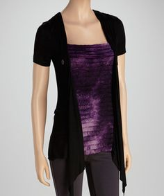 Loving this Black & Purple Ruffle Layered Top on #zulily! #zulilyfinds