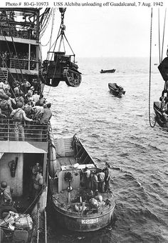 """Guadalcanal-Tulagi Landings, August 1942 - A U. Marine Corps """"Stuart"""" light tank is hoisted from the U. Navy transport USS Alchiba into a landing craft, off the Guadalcanal invasion beaches on the first day of landings there, 7 August 1942 Landing Craft, Us Marine Corps, World Of Tanks, Historical Pictures, Ww2 Pictures, Us Marines, Interesting History, D Day, Military History"""