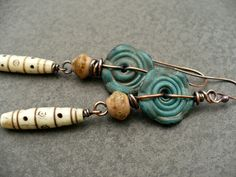 DRUMBEAT - lampwork glass teal vintage bone tribal rustic  copper dangle earrings () by livewirejewelrysb - handmade - jewelry - jewellery - artisan - etsy