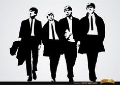 The Beatles band wallpaper showing Lennon, Starr, Harrison and McCartney figures in black and white. This is a nice design to use in any digital material for fans or in t-shirts, posters, etc. High quality JPG included. Under Commons 4.0. Attribution License.