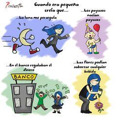 Cuando era niña. . . usa con el imperfecto para hablar del pasado. Copiado de Español en la red, de Facebook. Imagen: Azúcar y sal.