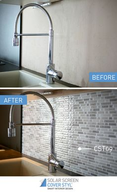 Before and after pictures of what your kitchen could look like with Cover Styl' self-adhesive backsplash tiles! With Cover Styl', your renovation projects have never been easier. Get inspired by subscribing our Pinterest account. More info on coverstyl.com   Facebook: https://www.facebook.com/cover.styl LinkedIn: https://www.linkedin.com/company-beta/10144504 Instagram: https://www.instagram.com/solarscreen_international/ YouTube: https://www.youtube.com/channel/UCkVNfISU6Qj1-118123DMvA