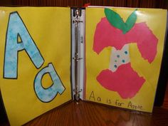 Make an Alphabet binder with finished letter of the week activities. Abc Crafts, Alphabet Crafts, Alphabet Art, Learning The Alphabet, Letter A Crafts, Preschool Learning, Preschool Crafts, Teaching Kids, Teaching Resources