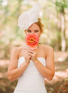 Light coral single flower wedding bouquet, photo by Elizabeth Messina Photography