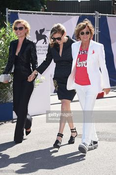 Radha Mitchell (L), Amy Berg (C) and Gianna Nannini (R) attend a premiere for 'Janis' during the 72nd Venice Film Festival at on September 6, 2015 in Venice, Italy.