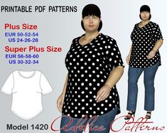 Plus size Top-Tunic Pattern for sizes / 1420 T Shirt Sewing Pattern, Tunic Sewing Patterns, Plus Size Sewing Patterns, Tunic Pattern, Clothing Patterns, Clothes Crafts, Sewing Clothes, Plus Size Top Pattern, How To Make Clothes