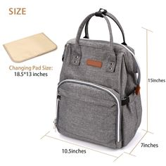 Babies Fashion Diaper Bag Backpack Waterproof Fabric Nappy Pack WideOpen School Bags Large Capacity Stylish and Durable Nursing Bag Gray by MoAnBee >>> Read more reviews of the product by visiting the link on the image.-It is an affiliate link to Amazon. #DiaperBags #fashionbackpacks