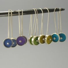 Drops of Color Earrings in Silver and Resin by ajcdesign on Etsy, $45.00