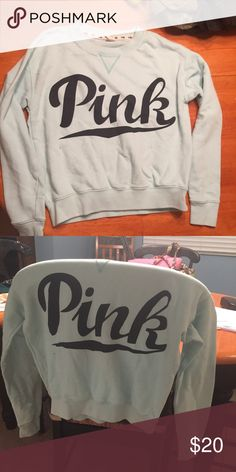 Blue VS PINK pullover sweatshirt I'm so sad to see this piece go 😭 such a cute, comfy, flattering, blue pullover from Victoria's Secret PINK! I've had it for years and I've worn it, so there's slight wear but honestly still in amazing condition surprisingly❤ I don't even wanna get rid of it I love this piece so much it's like my child 😂 but I'm an actress saving up for headshots so please buy and take care and love this sweatshirt 😭 PINK Victoria's Secret Tops Sweatshirts & Hoodies