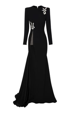 Alex Satin Crepe Longsleeve Split Crystal Gown by Alex Perry Stylish Winter Outfits, Classy Outfits, Elegant Dresses, Nice Dresses, Crystal Gown, Look Fashion, Girl Fashion, Ball Gown Dresses, Cosplay Outfits