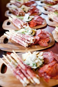 Antipasti platters - what a great idea as an appetizer or for cocktail hour. #entertaining #catering #appetizer #horsdoeuvres
