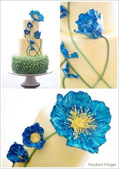 Blue Poppy Flowers Cake cakepins.com