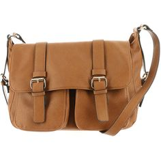 Double-Pocket Messenger Bag Tan Bags ($60) ❤ liked on Polyvore featuring bags, messenger bags, tan, mms design studio bags, brown messenger bag, flap bag and courier bags