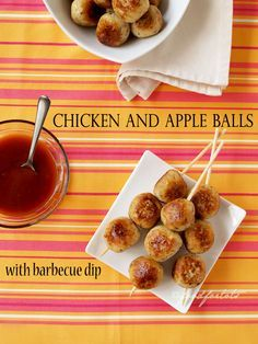 chicken and apple balls, barbecue dip, chicken balls, finger food, party food, toddler, Food For Tots