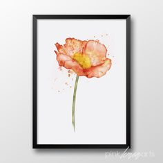 Watercolor art, Printable watercolor flower, Watercolor poppy, Wall art, Home decor 189 by PinkLemonArts on Etsy https://www.etsy.com/listing/239118841/watercolor-art-printable-watercolor