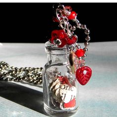 Bottle  Necklace...   - Queen of Hearts - jAR of HEARTS Collected  - French Words and Red Heart Necklace.