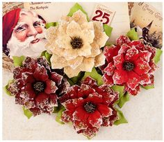 Prima > A Victorian Christmas > Joyeaux Noel Mulberry Paper Flowers - A Victorian Christmas - Prima - PRE ORDER: A Cherry On Top (4)  X  4