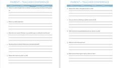 A template of questions to take to your child's parent-teacher conference