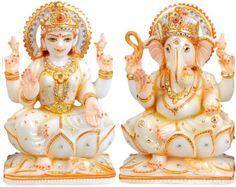 Marble Laxmi Ganesh like Hindu God with elegant sharpness & polishing. Ganesh Idol, Ganesha Art, Lord Ganesha, Spiritual Wallpaper, Ganesh Wallpaper, Diwali Candles, Lakshmi Images, Stone Fountains, Diwali Gifts