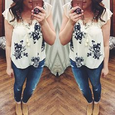 Floral tops are the perfect item to transition your closet from winter to spring! #spring #floral Save The Moment Top $46