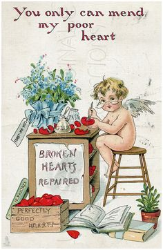 DIGITAL Download, Broken HEARTS REPAIRED, Cupid, Valentine, Forget Me Nots, Thyme Herb, Glue, Old Postcard 1915