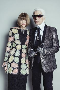 Anna Wintour OBE with Karl Lagerfeld - winner of the 2015 Outstanding Achievement Award #BFA