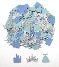 Items similar to Blue Princess Themed Confetti with Silver Glitter Crowns Set of 100 Assorted Pieces for a Birthday Party in Blues and Silver Glitter on Etsy Silver Glitter, Blue And Silver, Table Labels, Princess Party Decorations, Party Items, For Your Party, Favor Tags, Scrapbook Paper, Confetti