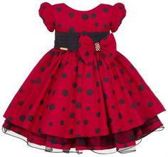 Vestido infantil Minnie Vermelho/Joaninha - Tam 1 / 3 Toddler Dress, Baby Dress, Miraculous Ladybug Party, Baby Girl Christmas Dresses, Vintage Girls, Frocks, Skater Skirt, Kids Fashion, Girl Outfits