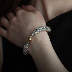 Turquoise, Light Blue and Gold Bracelet and Earrings - Gift Set Light Blue, Handmade Jewelry, Turquoise, Diamond, Bracelets, Earrings, Gifts, Jewellery, Ear Rings