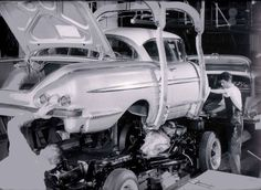 58 Chevy Impala in the assembly line back in the day-http://mrimpalasautoparts.com