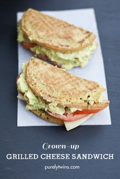 grown up grilled cheese sandwich with avocado and tomato because us adults love a good grilled cheese too. #glutenfree #grainfree | purelytwins.com