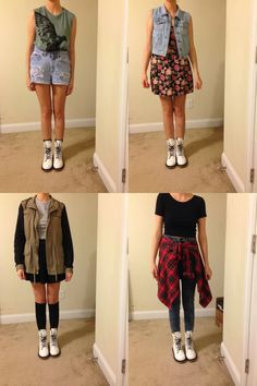 4 outfits to go with white Doc Martens. I love mine. Outfits For Teens, Cool Outfits, Casual Outfits, Summer Outfits, Fashion Outfits, Doc Martens Outfit Summer, Dr Martens Outfit, Outfits With Doc Martens, White Dr Martens