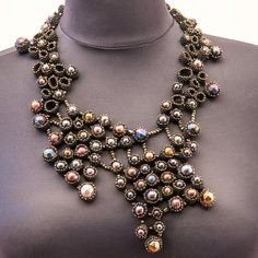 Time consuming! The price reflects it. VENICE BY NIGHT necklace by KrisDesignFSP on Etsy, $820.00