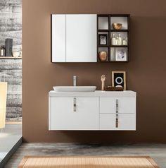 Kami by Mastella Srl: Set with Goji basin in Mak Mat. Modern Bathroom Cabinets, Mirror Cabinets, Modern Bathroom Design, Wash Basin Cabinet, Undercounter Sink, Italian Bathroom, Storage Mirror, Bathroom Organisation, Cabinet Design