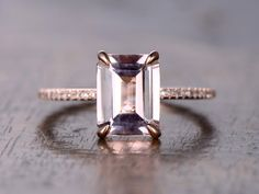 Hey, I found this really awesome Etsy listing at https://www.etsy.com/uk/listing/271539504/79mm-emerald-cut-morganite-ring-14k-rose