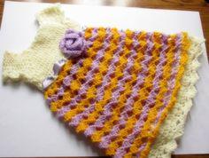 Röcke - Baby-Kleid häkeln Babykleid creme flieder gelb-Bab - ein Designerstück von aartur74 bei DaWanda