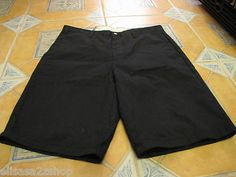 Men's Volcom walk casual shorts pin stripe black surf skate brand 34 grey logo