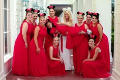 Minnie Mouse would approve of this cute photo of Allison's bridesmaids