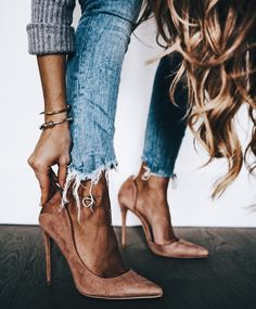 Nude suede heels with ripped jeans