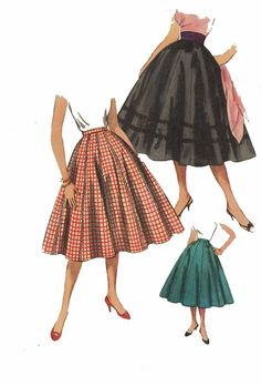 "Vintage 1950's Sewing Pattern Rockabilly Flared Skirt Jive Swing Waist 26"""