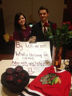 The perfect promposal for a hockey fan! I was speechless! My name on hockey pucks, placed in a hat (hat trick, clever) + roses + my fav Starbucks, and he wore my fav player's jersey ❤️ Of course I said HELL YES!