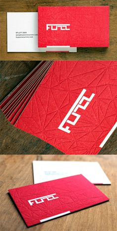 Boldly Coloured Bright Red Textured Letterpress Business Card Design // I like the use of indenting in the textured red card. I also like the font used to make the white logo. Elegant Business Cards, Cool Business Cards, Presentation Cards, Name Card Design, Corporate Identity Design, Bussiness Card, Letterpress Business Cards, Branding, Business Card Design