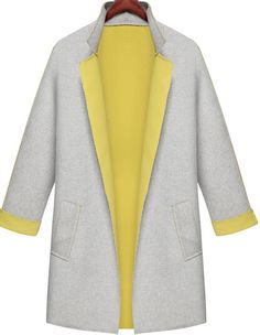 Grey Contrast Yellow Collar Loose Pockets Coat 35.00