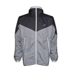 timeless design d0ac1 fe48b NIKE Mens Windrunner Hooded Full Zip Track Jacket (Dark Grey wolf grey white