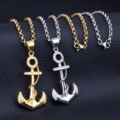 New Fashion Stainless Steel Gold Plated Boat Anchor Necklace Jewelry Good Quality Gift For Men Women  Wholesale And Retail