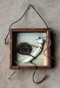Tendrils by Lupa. At https://www.etsy.com/listing/209025524/tendrils-wood-frame-assemblage-piece