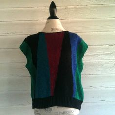Vintage 1980s Sleeveless ABSTRACT Sweater  by runaroundsuevintage, $22.00