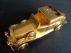 Vintage Rolls Royce Diecast Metal Cigarette Lighter Gold Collectible